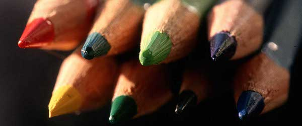 Macro-photography of colored pencils